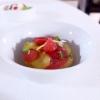 AncoraPomod'oro: datterino giallo e rosso, frisella di pane integrale con pomodoro confit bagnata con acqua disei tipi di pomodoro