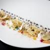 """ANTIPASTO.""""Aspic"""" con calamaro, ostriche, Konjac e verdure diFabrizio Ferrari, chef del ristoranteAl Porticciolo 84 di Lecco"""
