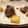 "Pork cheek with horseradish and amatriciana sauce. The cheek is cooked for 16 hours and served with potatoes and gnocchi with amatriciana sauce, Bartolini imagined this recipe for the ""7 chef per Amatrice"" event, see 7 chefs for Amatrice, the great cuisine is twice as good"