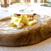 Baccalà marinato, ananas, maionese di nocciola: molto buono