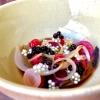 Cipolla cotta in forno, lampascioni, ribes nero, perle di aceto balsamico, olio al porro, tapioca e sambuco