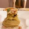 Spaghetti freddi con salsa ai frutti di mare e curry: molto buono
