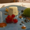 White chocolate, tomato jam, olives and basil sorbet