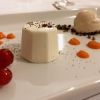 Bavarian mousse with almonds, cream of pepper, Tonka beans and smoked almonds sorbet