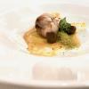 Coniglio a succhittu, sfumato con la Vernaccia: la sella con i suoi fegatini, un crumble di pane alle erbe, olivelle del Campidano e crema di carote. Gran piatto