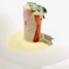 Cialda di carota di Ispica, tartare di Cinisara, spuma di bufala ragusana, salsa di caciocavallo, crema di porcini. Delizioso