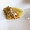 La pasta con le sarde Gagini style: è condita con acqua di patate, colatura di Aspra, pane tostato, pinoli, polvere di acciughe. Il ripieno è di finocchietto, uva sultanina, acciughe ripassate in padella