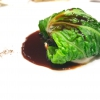 Fat goose liver from Mortara wrapped in steamed cabbage, warm oyster cream and casseoula sauce: the expression of a territory. «This is my idea of casseoula, which we cook in a classic way, and then extract so as to make a sauce». The cabbage recalls caponet or lattuga ripiena alla ligure (served with tocco, a thick meat broth which we'll mention later too), but has fat liver too. A fantastic dish