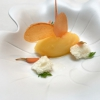 Zanahoria y mandarina, carrot wafer and mandarin sorbet, with yogurt bread