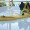 """Un """"giovane classico"""", Calamaro di Bordighera (2014) con salsa alla bagna cauda,carciofi e chips di riso nero"""
