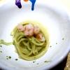 Spaghetto, burro, alloro con gamberi crudi
