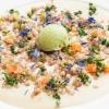 """Pietro Leemann - """"La Ricetta dell'altro è sempre più verde"""" Grano saraceno risottato con fonduta di casera, verza e spuma soffice di cavolo romanesco delicatamente affumicato"""