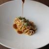 Linguina fresca Grani Antichi anguilla alla brace, sugo di pollo arrosto, albicocche ed erbe, Luca Ferrari