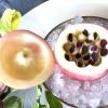 Una volta aperta, colpo d'occhio a parte, ecco sferette di mela immerse in uno sciroppo di rose e mele fermentate due anni. La fermentazione è una parola dalla quale lì - e non solo lì - proprio non si può prescindere.