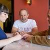 Sarah Clarke, general manager e beverage director di Osteria Mozza a Los Angeles, con Paolo Marchi. Foto di Luciano Furia