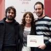 Il miglior chef.Elisabetta Serraiotto, responsabile marketing e comunicazione del Consorzio Grana Padano premiaMatias Perdomo e Simon Press diContraste – Milano