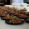 La Tartare di vitello sanato con bottarga, uova di trota e topinambur croccante di Cesare Battisti. La splendida carne è della Macelleria Annunciata di Milano