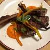 Tomahawk di pecora brogna alla brace,carote e portulaca