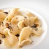 Trucioli di pasta: a masterpiece. Durum wheat pasta with toasted cereals, matured whey of Ragusano cheese, capers and lemon