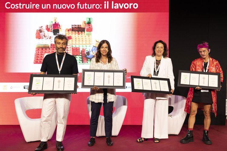 Enrico Buonocore, Alessandra Todde, la giornalista Anna Scafuri che ha moderati l'incontro, Cristina Bowerman