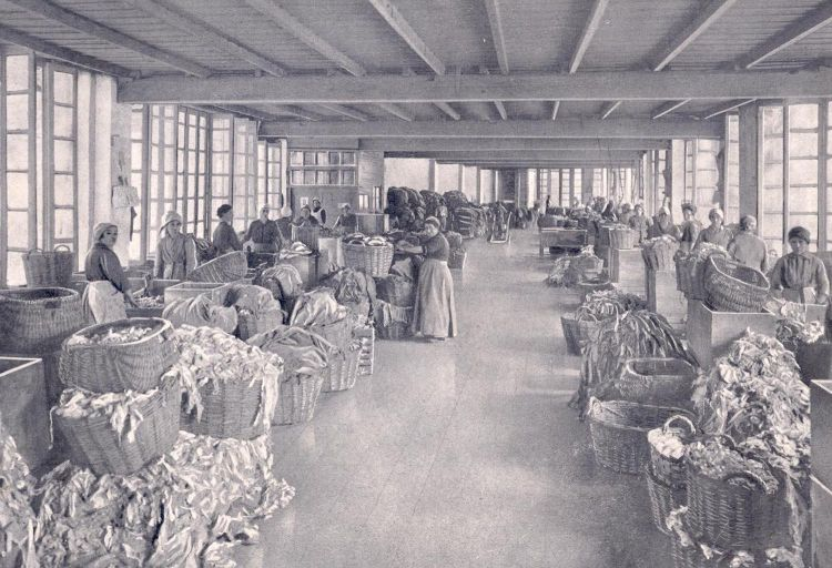"""All the paper, until the early 20th Century, was made from old rags. Women took care for the selection and the cutting of the fabric, before the mushing phase. That of the """"stracciaiolo"""" the ragman, was a real profession: at the end of the 18th century in Toscolano there were seven. In the photo above, women from the Valle delle Cartiere, in the rag department"""