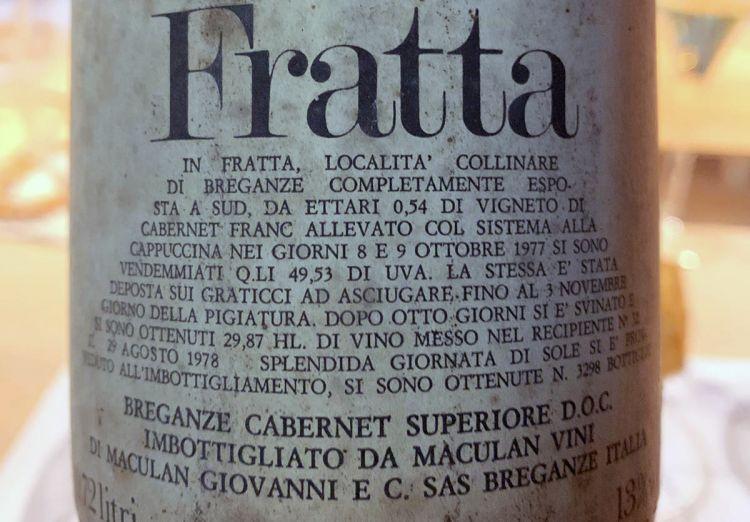 L'etichetta con tutte le date del Fratta 1977
