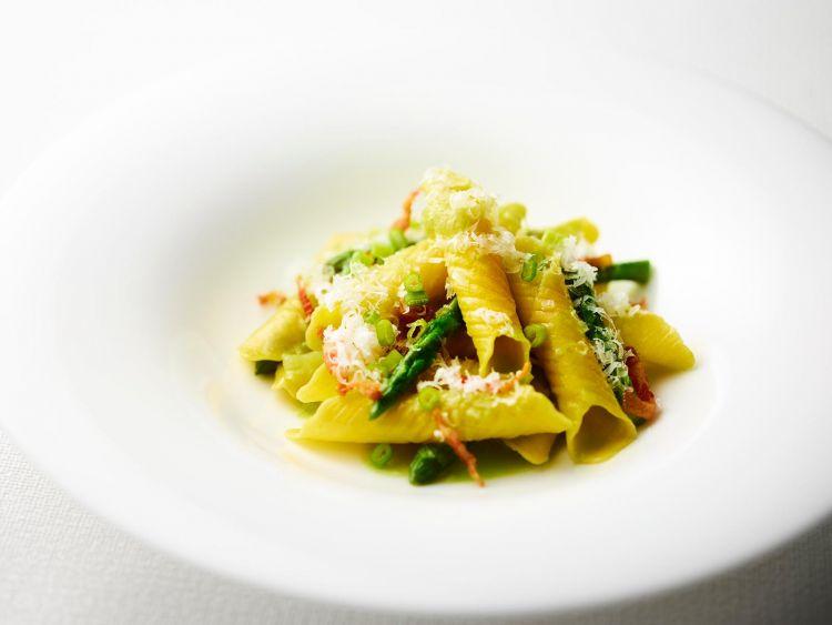 Garganelli asparagus, jowl bacon and pecorino