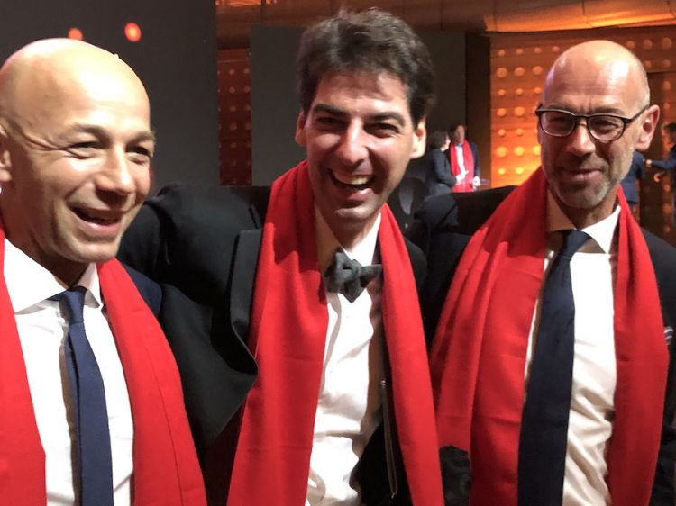 Massimiliano Alajmo tra Riccardo e Giancarlo Camanini