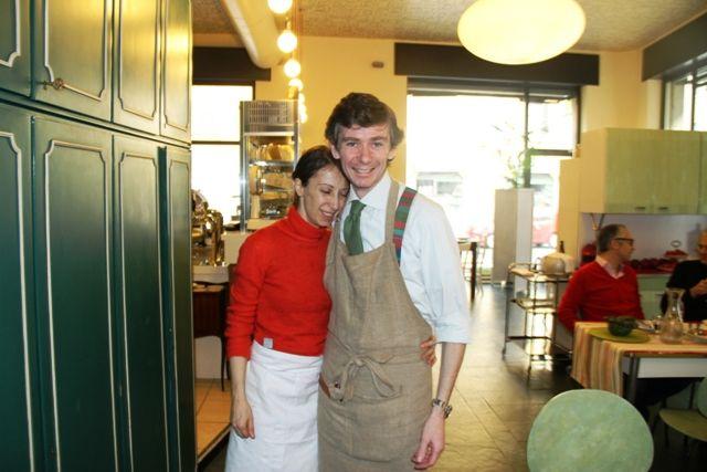 Con Cristina Aromando negli anni del bistrot Aromando (foto Porzioni Cremona)