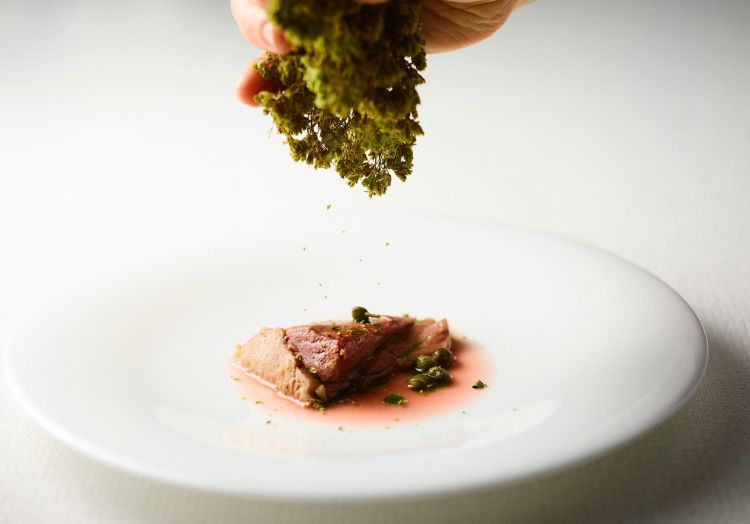 Grilled tuna throat on water of red onions, capers and oregano from Sicily