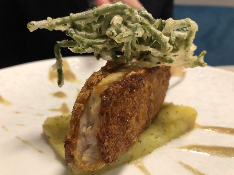 French toast di triglie, missultin e frittella di alghe