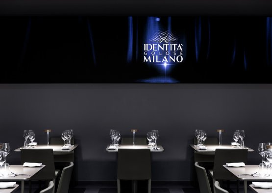 Il progetto di illuminazione di Groppi nella sala ristorante di Identità Golose Milano...