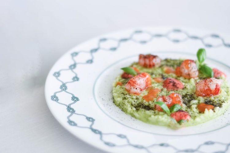 Risotto al pesto e gamberi di Santa Margherita Ligure, uno dei piatti dei Cerea a Portofino