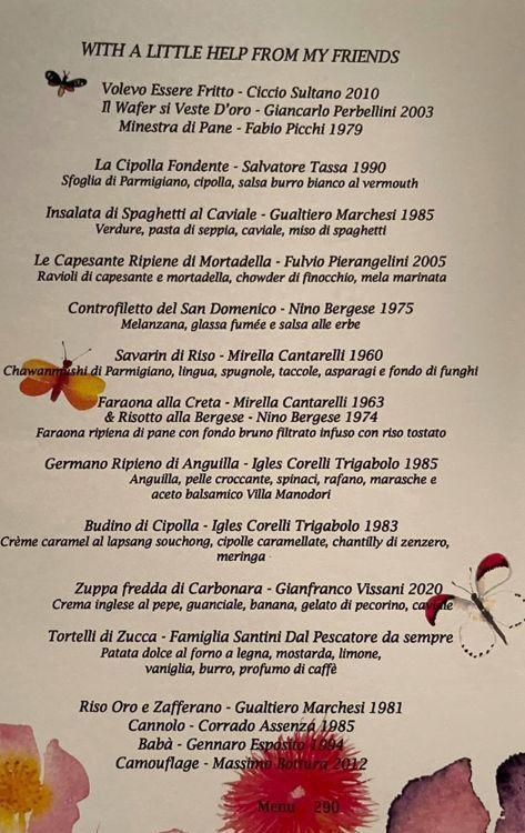 The new menu at Osteria Francescanain Modena