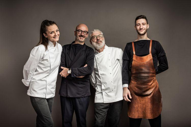 Lo staff de La Montecchia. Da sinistra Annamaria Radicci (sous chef), Mauro Meneghetti (restaurant manager), Simone Camellini (chef) e Manuel Marconato (sommelier)