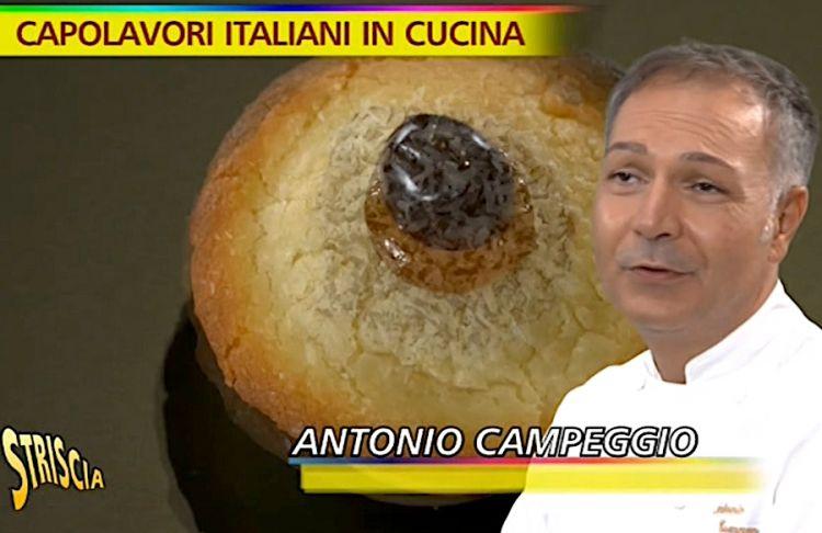 Antonio Campeggio e, sullo sfondo, un suo pasticciotto creativo