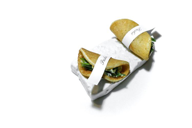 Tacos, finocchio di mare, maionese e gel allo yuzu