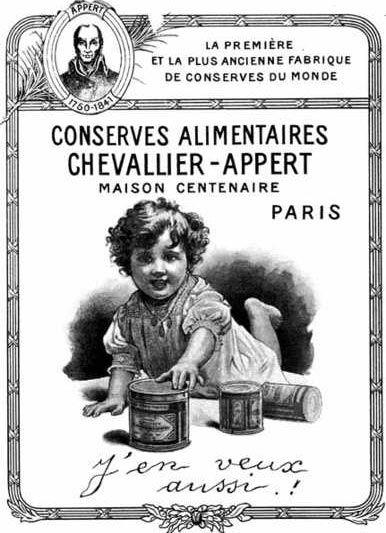 Una pubblicità dell'ex Le Maison Appert, probabilmente degli anni Venti-Trenta del Novecento