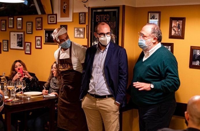 Un'immagine dalla cena del15 ottobre da Trippa, con Diego Rossi, Eugenio Signoroni e Paolo Marchi