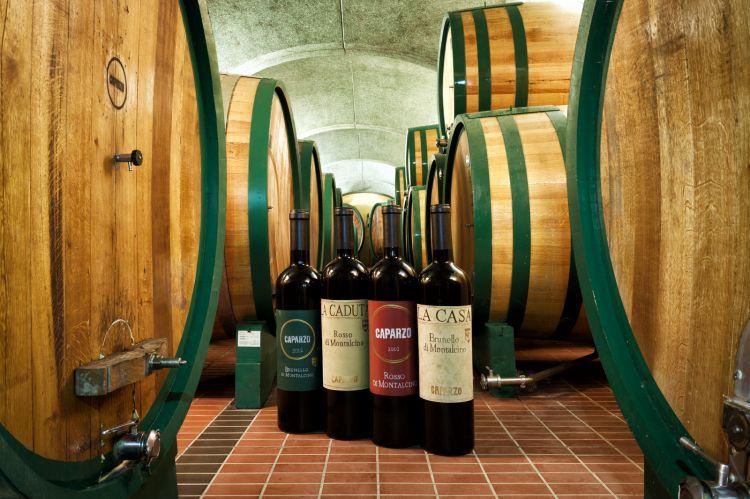 La cantina di affinamento di Caparzo: anche le botti sono rifinite con l'ormai classico colore verde dell'etichetta di Brunello
