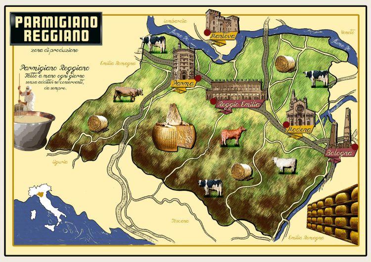 Il territorio del Parmigiano Reggiano