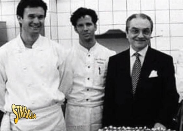 Un giovane Ernst Knam tra Carlo Cracco e Gualtiero Marchesi