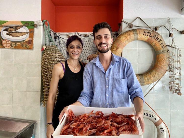 Lo chef Edoardo Traverso è andato personalmente a Bordighera per acquistare i gamberi di Sanremo nel menu di Identità Golose Milano