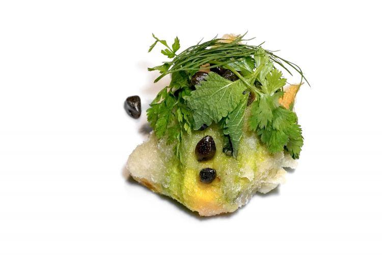 Fiore di zucchina fritto, ricotta di Tremosine, cappero di Gargnano, aneto, melissa e coriandolo