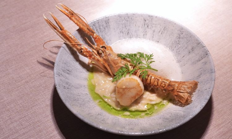 The presentation of this dish needs some improving:  Lemon risotto, scampi, foam of lemon, toasted scallop and wild carrot