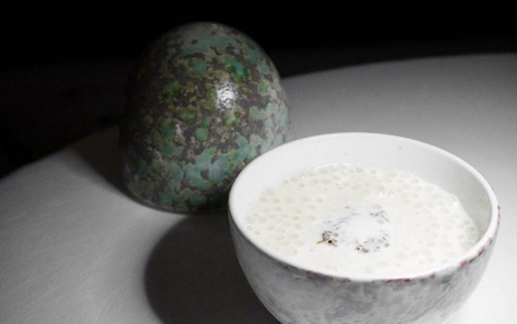 Uovo pochée di gallina ruspante, schiuma di aglio di Vessalico, verdure della Piana, acqua di tartufo nero