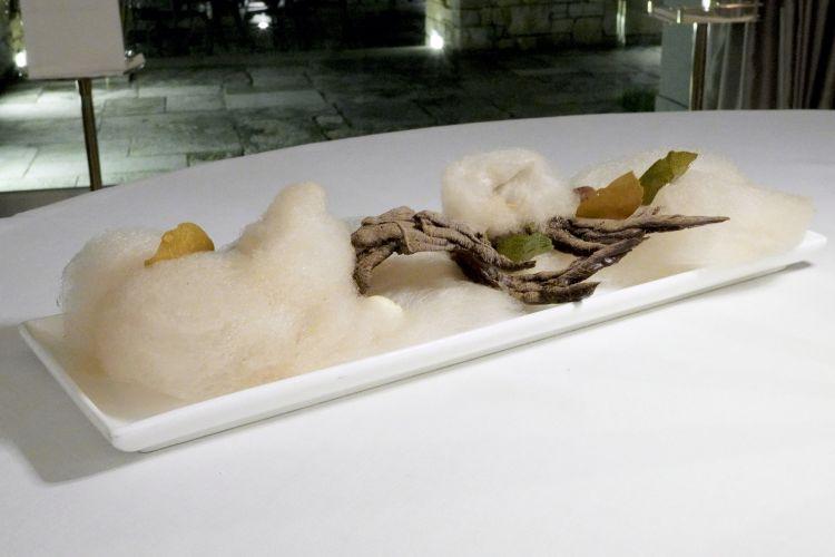Bosco incantato, un insieme di preparazioni con rami cioccolato, zucchero filato, sassi di zabaione, ghiande di tiramisù, castagne di cioccolato bianco...