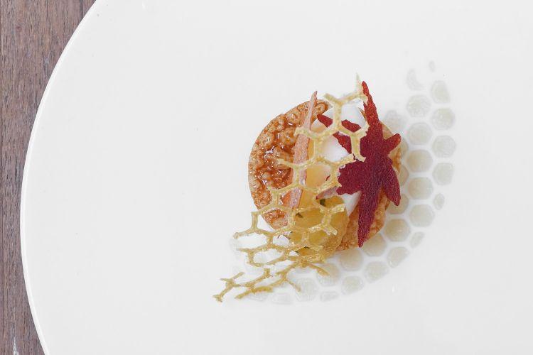 """""""Baklava"""", ricotta di mandorle, dragoncello, aceto di rose, sorbetto miele fermentato"""