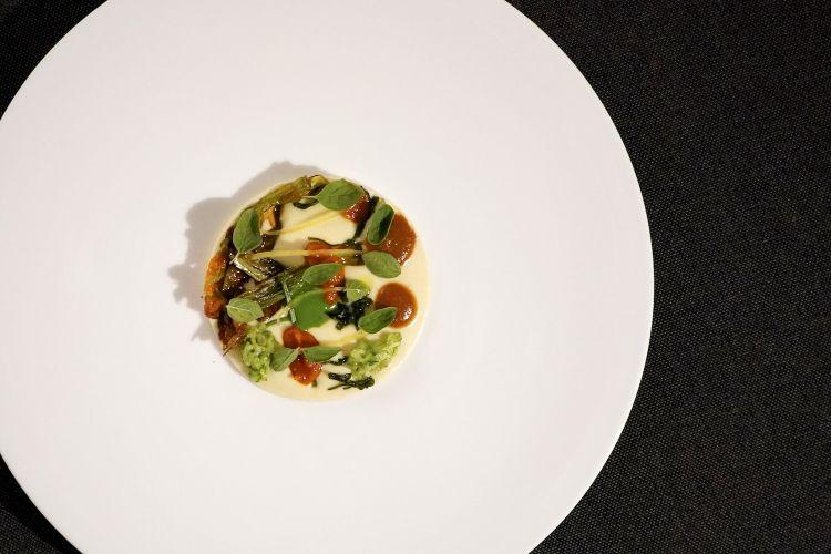 Fonduta di Parmigiano reggiano 120 mesi, erbe aromatiche, salse di mare (con zucchine marinate, origano, zest di limone, olio agli agrumi, salvia e cipollotto croccante)