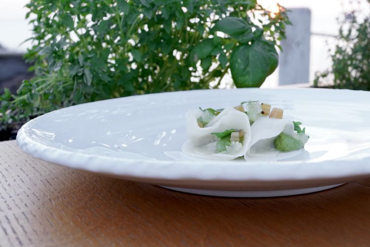 With the first course, we already reach the stars: Trunzu cabbage, rocket and lemon. The cabbage is seasoned with a cream of seaweeds and rocket, and its leaves are marinated and grilled